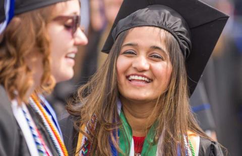 Students at graduation ceremony