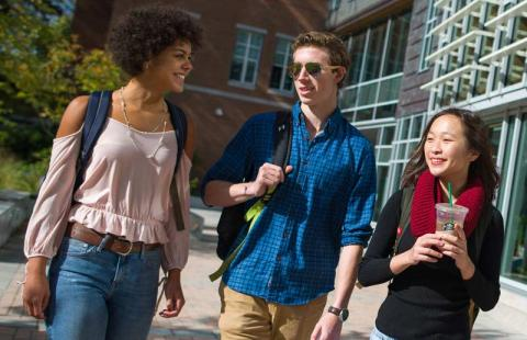 3 students walking down paul courtyard