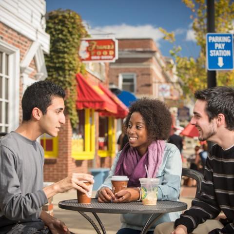 Students having coffee in Durham